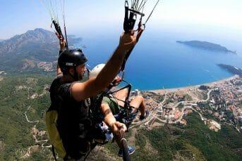 Paragliding Budva, gorgeous view on sea and Budva town