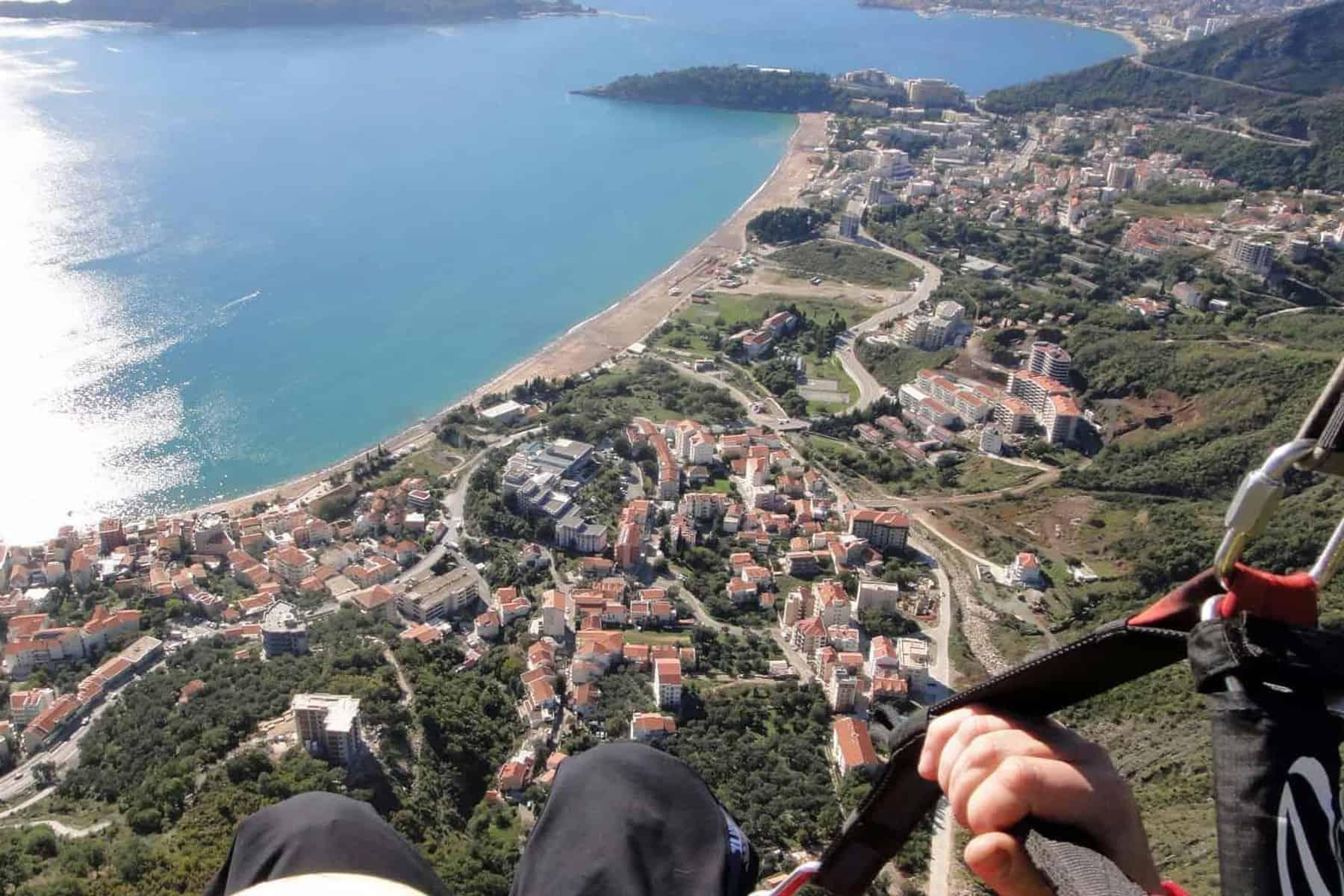 Amazing view on Paragliding Budva, Brajići
