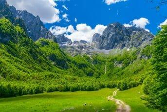 Road to the impressive peaks of Prokletije Mountain Montenegro