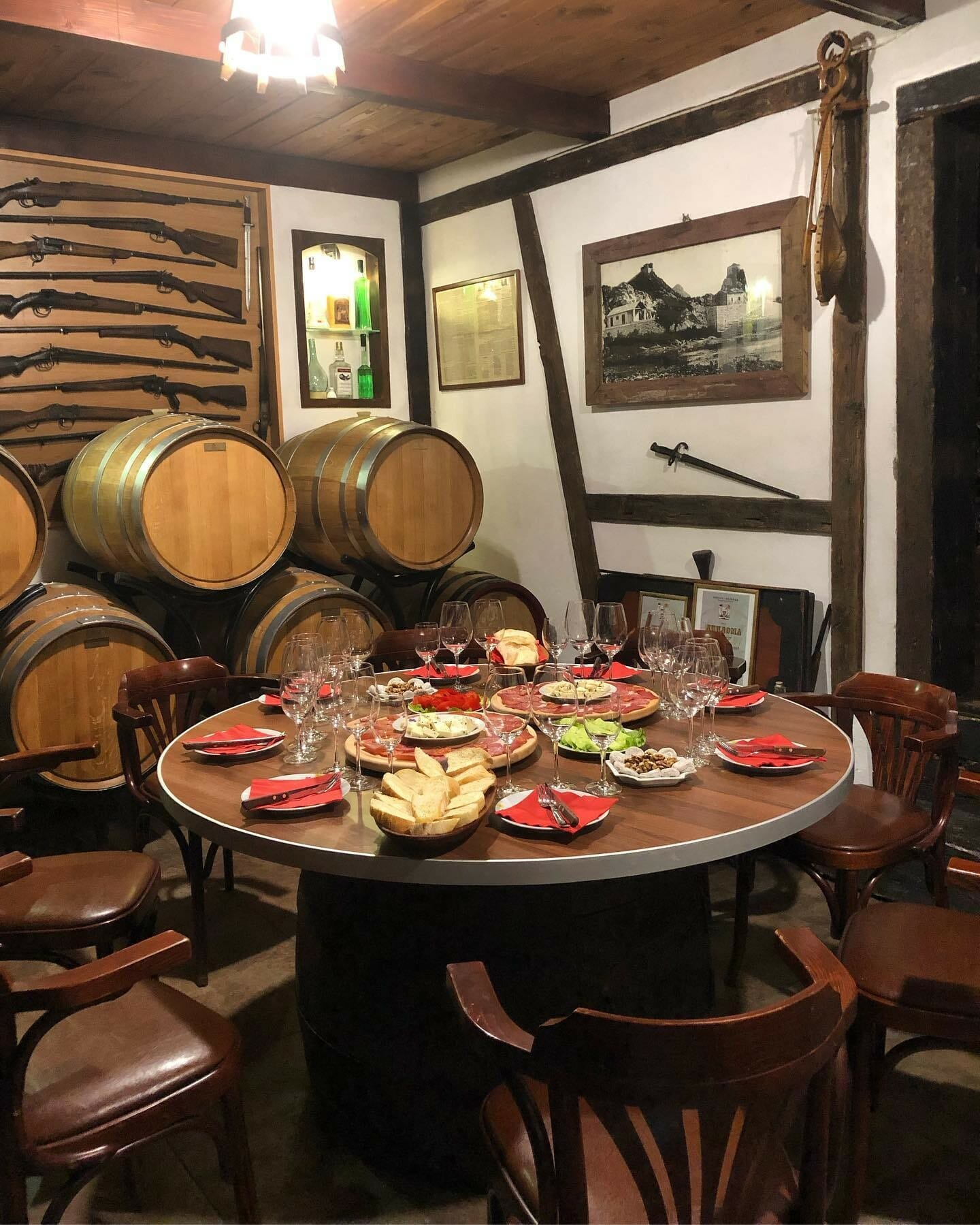 Wine tasting with traditional food served in Masanovic winery in NP Skadar Lake Montenegro