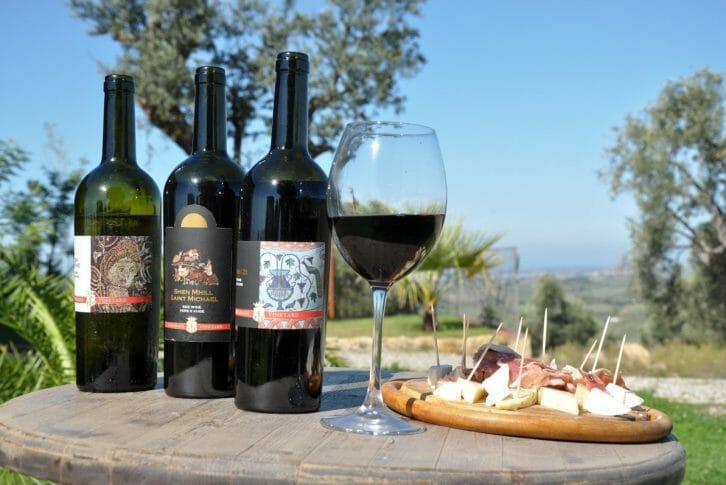 11Kokomani wines served with traditional food in Kokomani Winery in Albania