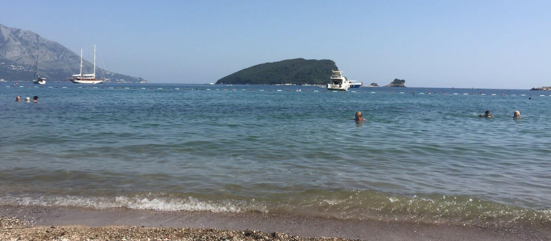 Slovenska Beach with view on St Nicholas Island near Budva