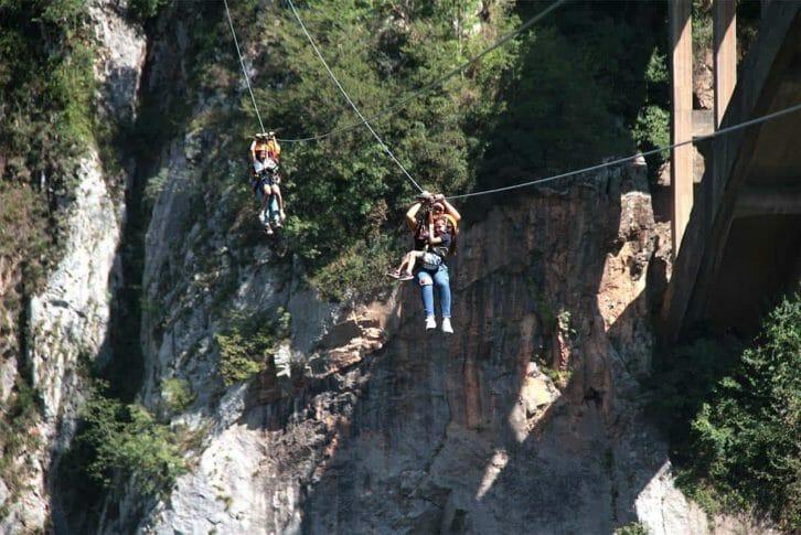 11Family of 4 ziplining together, Đurđevića Tara Bridge