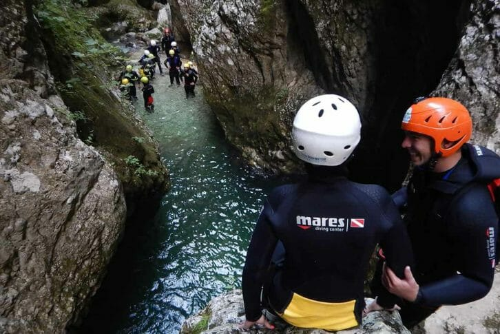 11Preparing for a jump on canyoning Nevidio in Montenegro