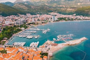 View from the air to the shore of budva in montenegro