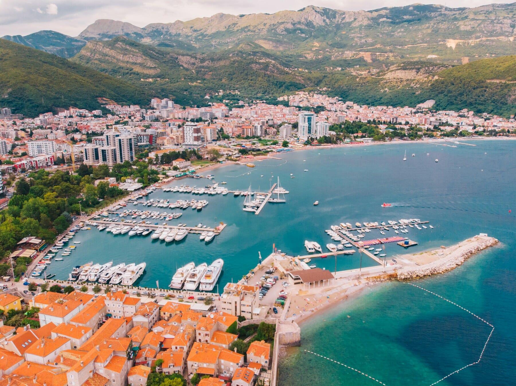 View from the air to the shore of budva in montenegro, summer day