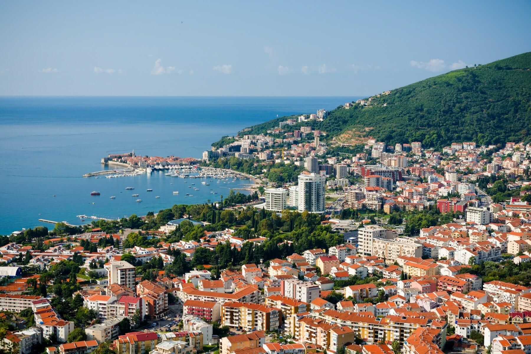 Panoramic view of Budva and Adriatic Sea Montenegro