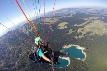 Selfie from above over Black Lake, paragliding Savin Kuk
