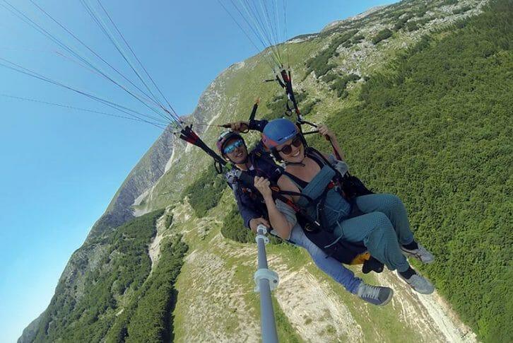 11Take off selfie tandem paragliding, Savin Kuk