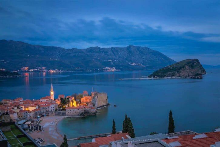 11Dusk over Budva town in Montenegro