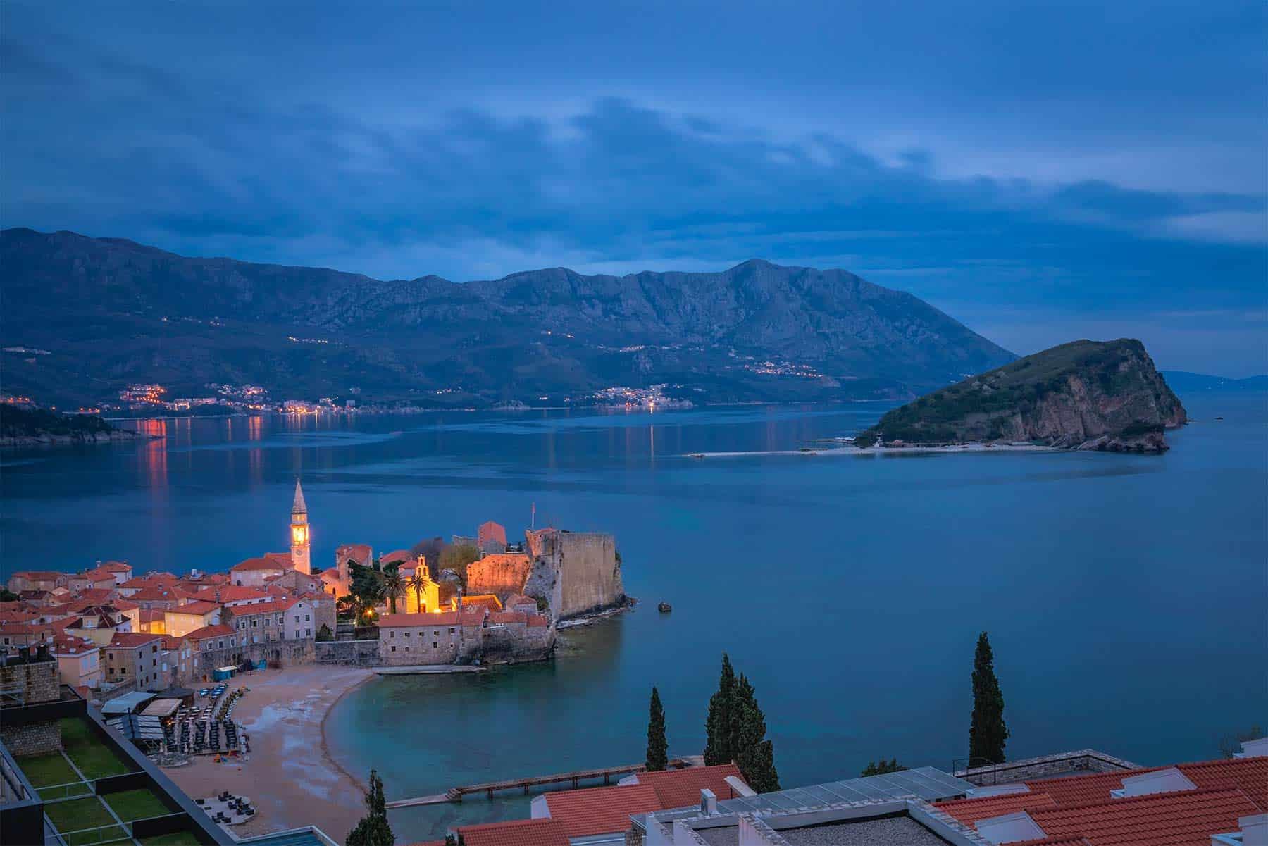 Dusk over Budva town in Montenegro