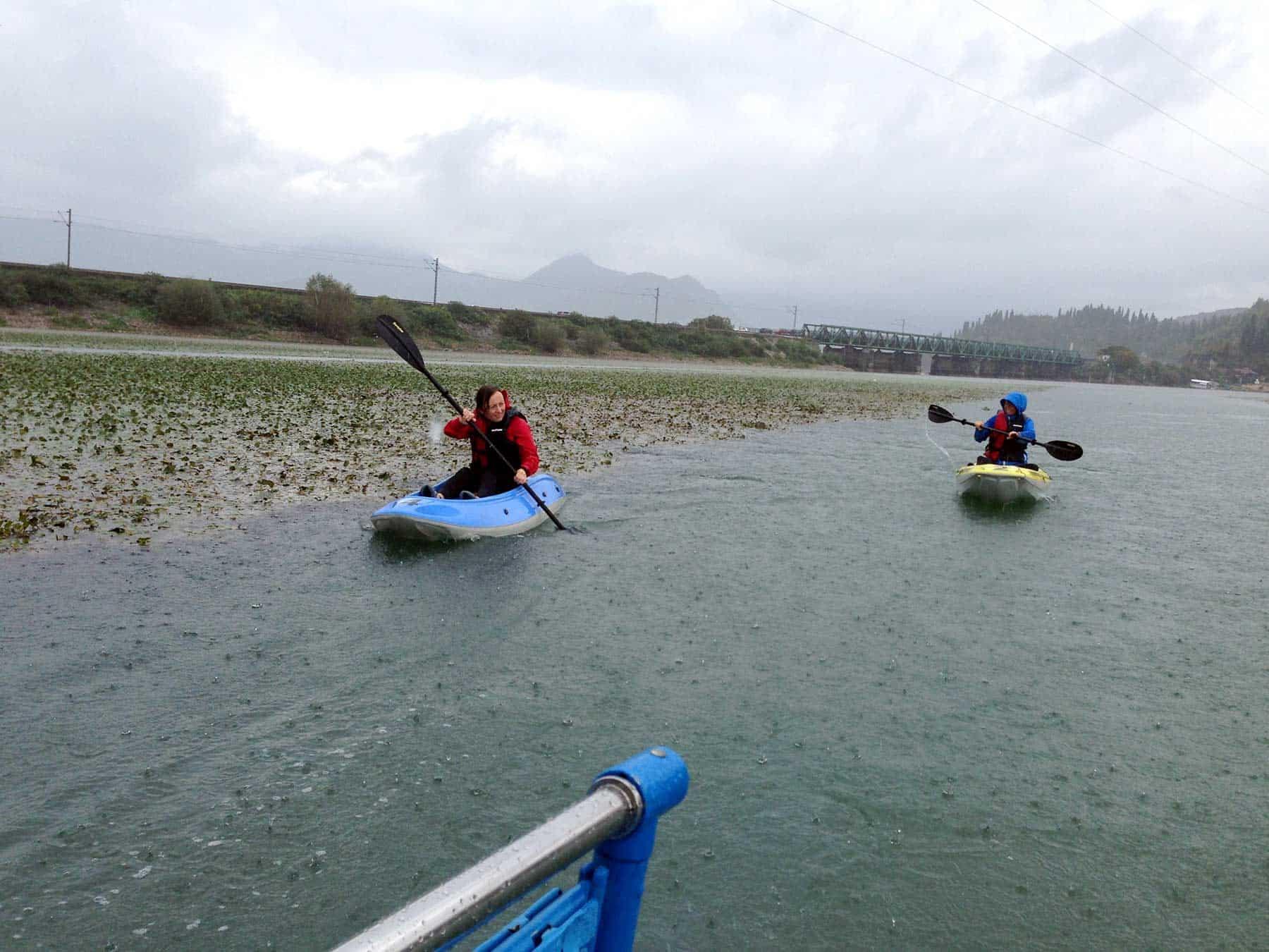 People enjoy kayaking on Skadar Lake