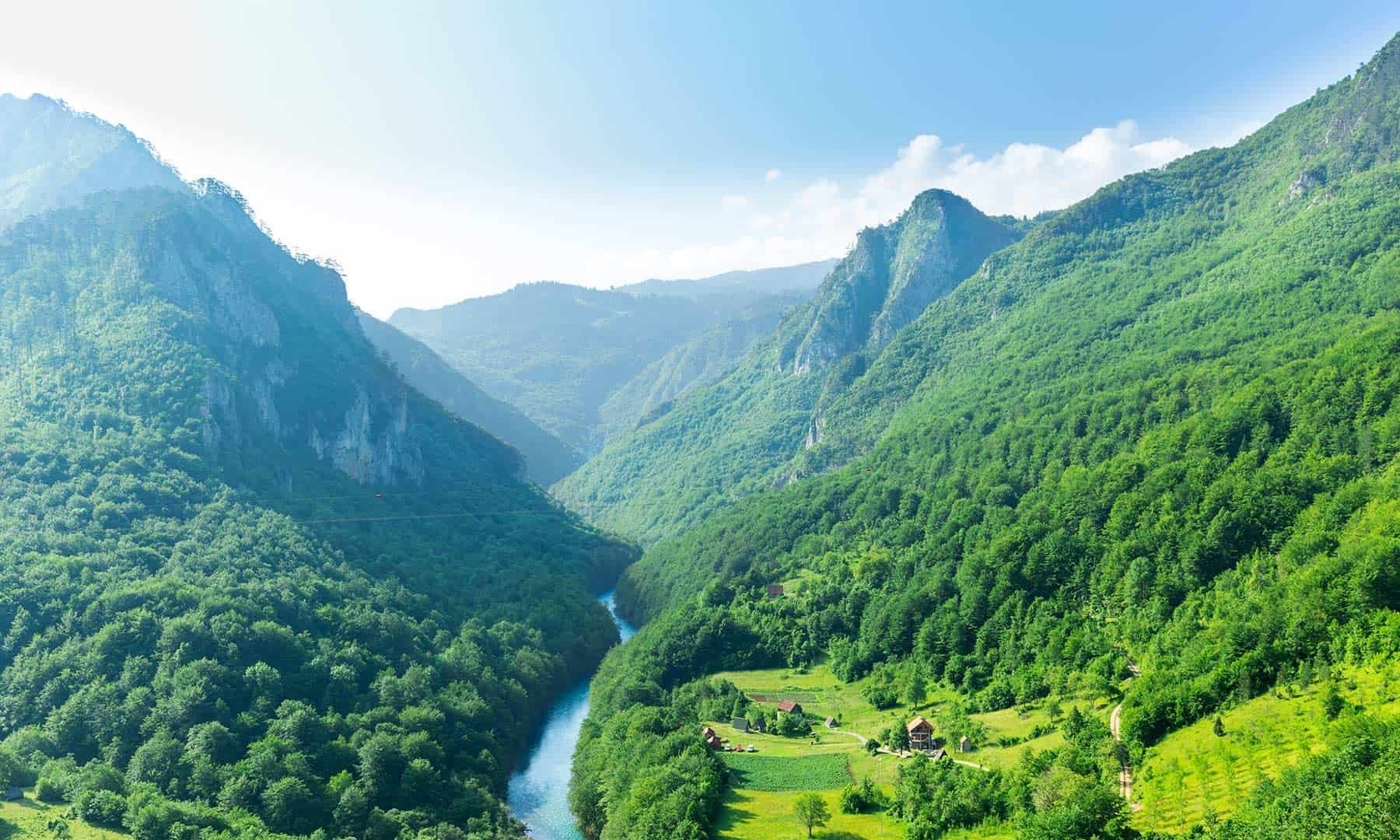 Canyon Tara with beautiful blue sky in Montenegro