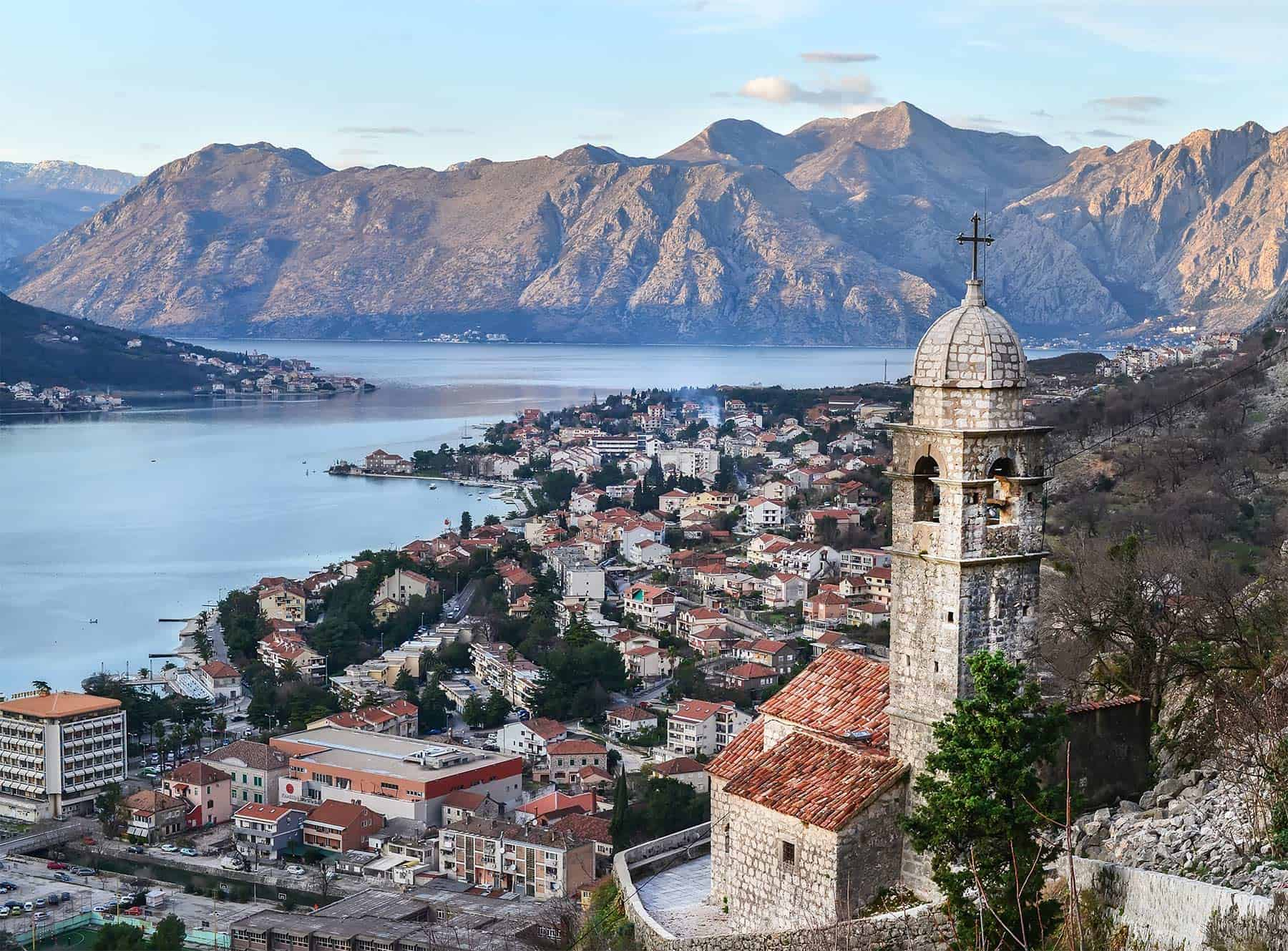 View over Kotor Old Town in Montenegro