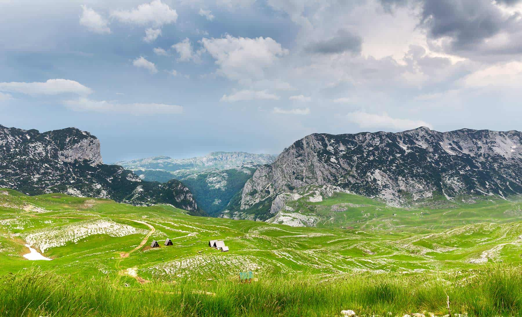Mountains and green landscapes in Durmitor National Park