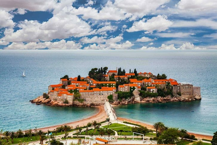11Sveti Stefan island in Budva in a beautiful summer day, Montenegro