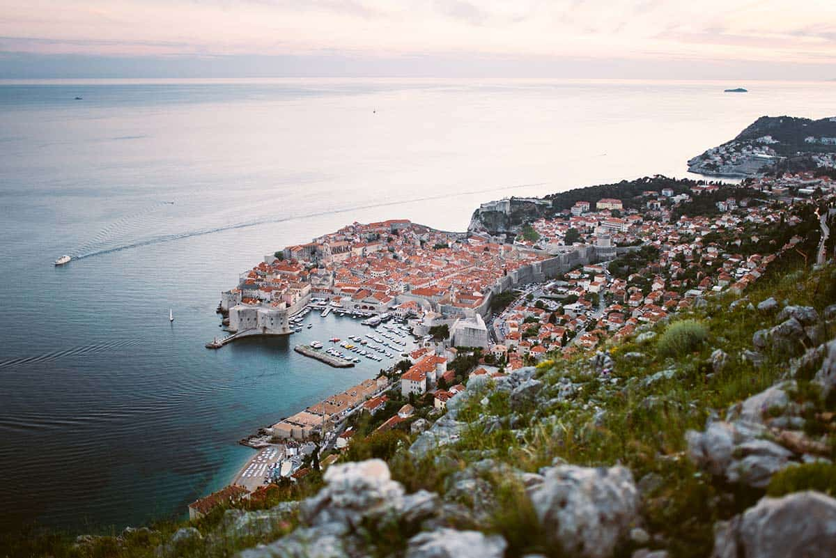 View from the mountains of Dubrovnik Old Town