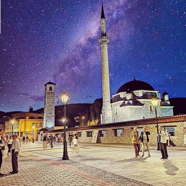 Starry sky over Husein-Pasha Mosque Pljevlja