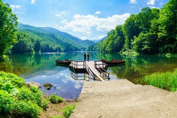 11Two men enjoying the stunning view at the Biograd Lake in Montenegro