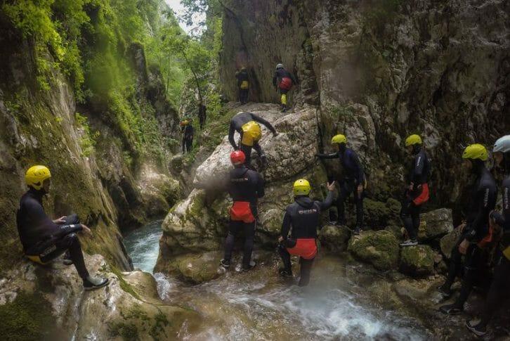 11Group tourists starting canyoning Nevidio