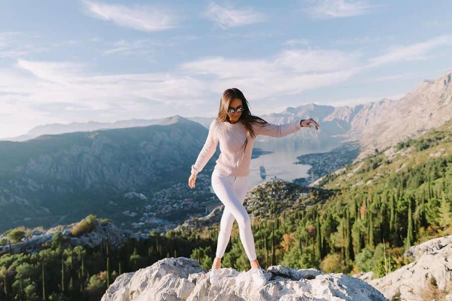 11Beautiful woman enjoying nature in Kotor