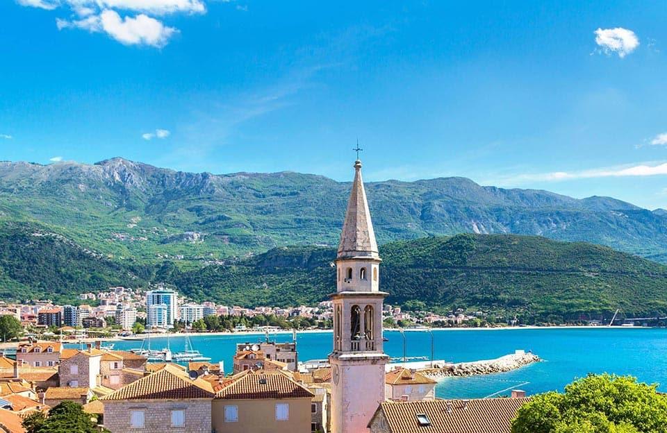 Budva beachfront rooftop view in Montenegro