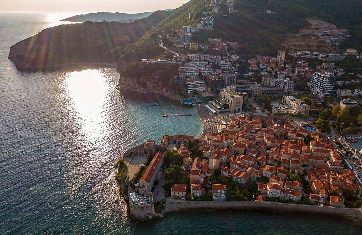 Old Town in Budva from above with a drone