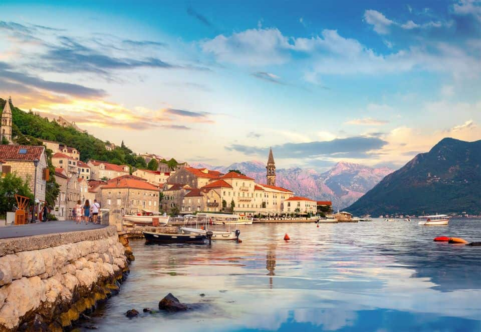 City and bay of Perast in Montenegro