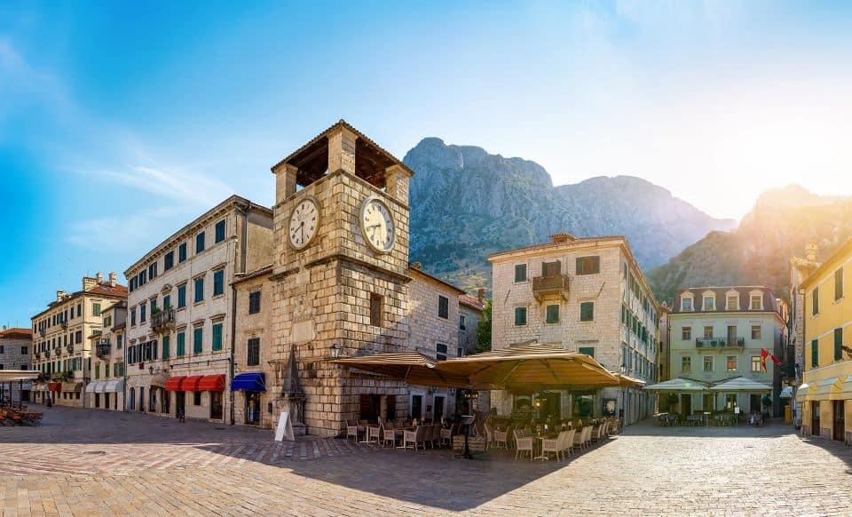 Clock tower in Kotor old town in Montenegro