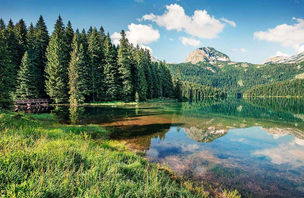 Clear calm Black Lake in Durmitor National Park in Montenegro