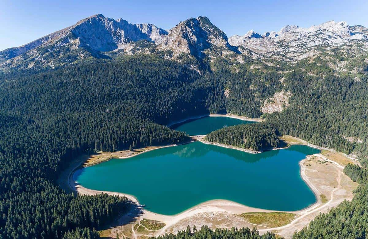 Areal view of the Black Lake at Durmitor National Park