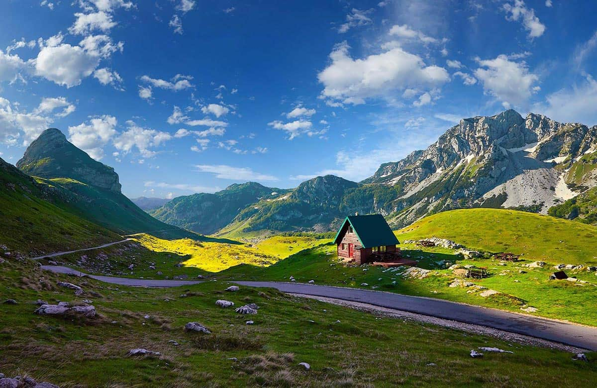 Scenic high mountain road in Durmitor National Park