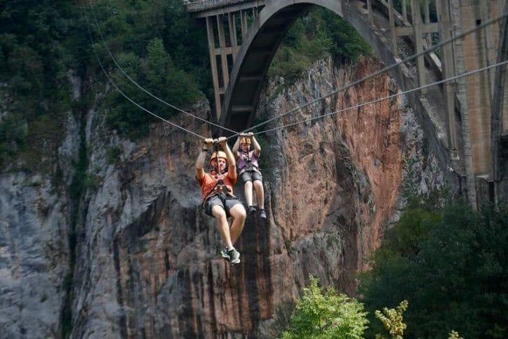 11Father and son enjoying Zipline, Tara Bridge