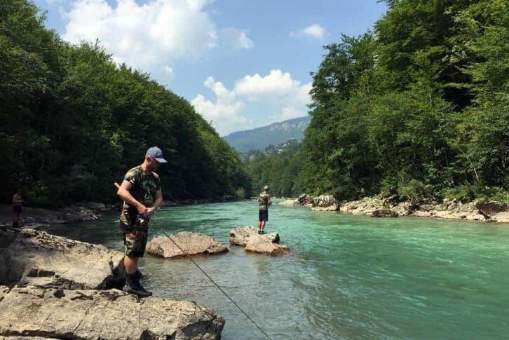 11Fishing on Tara river not far from Djurdjevica bridge in Montenegro