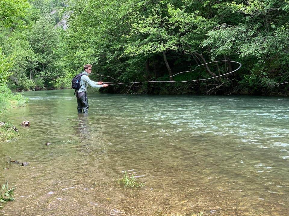 Fly fishing in gorgeous river in Montenegro