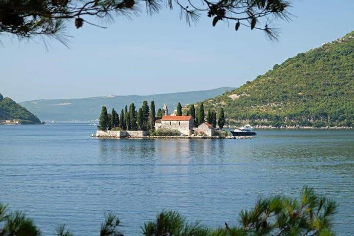 11Island of Saint George off coast of Perast in bay in Montenegro