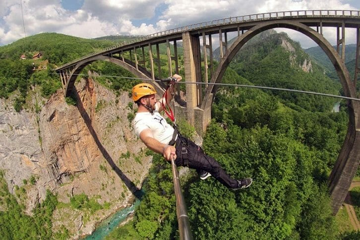 11Man ziplining selfie Tara Canyon
