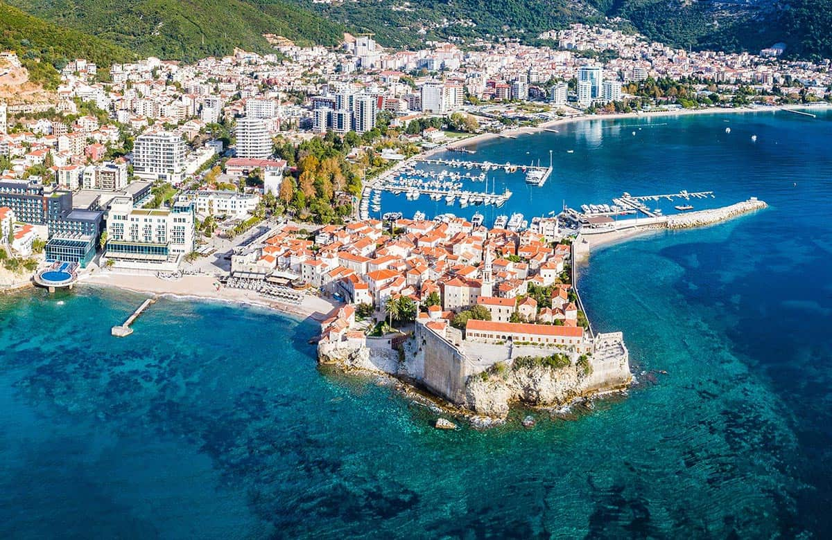 Stunning view of Old Town in Budva from above