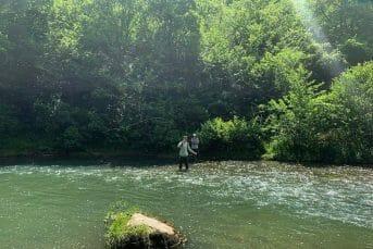 Two men flyfishing in stunning Tara river