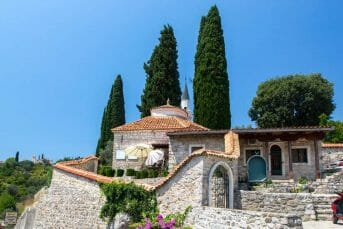 View of beautiful stone house in old town of Bar in Montenegro