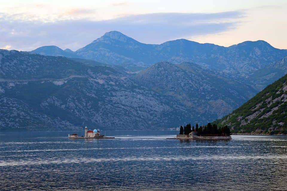 View of island of Saint George and our Lady of the Rocks in Montenegro