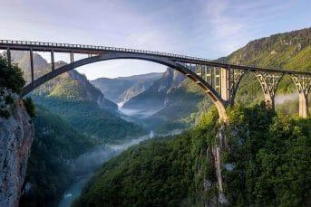 Stunning view of Djurdjevica Tara bridge