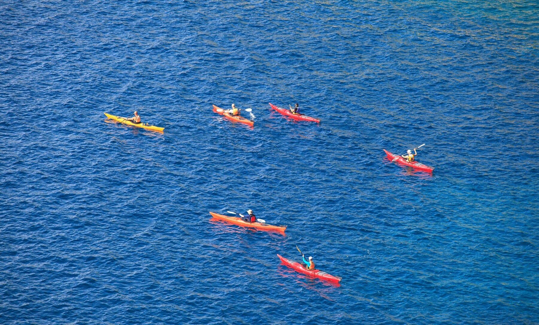 Kayaking on clystal clear Adriatic sea Montenegro