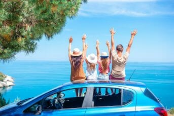 Summer car trip and young family on vacation in Montenegro