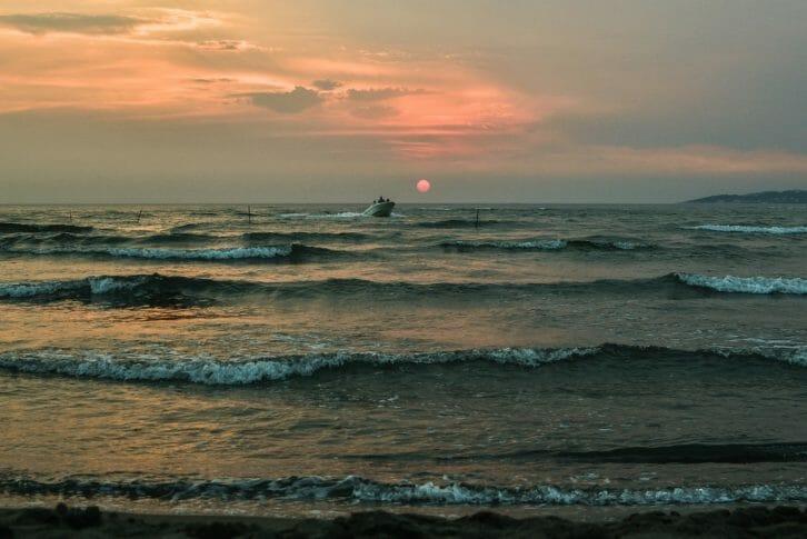 11Boat cruise on waves in sunset Ada Bojana Ulcinj Montenegro