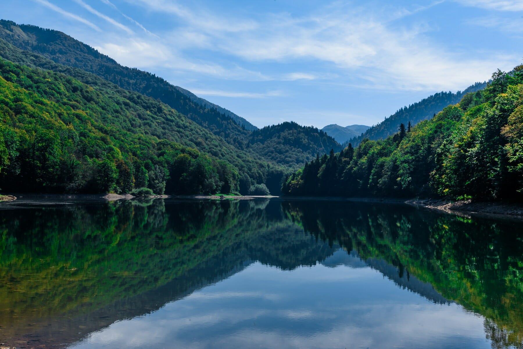 Reflections in Biograd Lake Bjelasica Mountain Montenegro