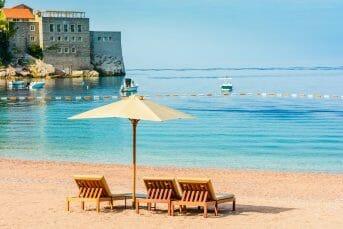 Desk chairs on sandy beach on the Budva Riviera Montenegro