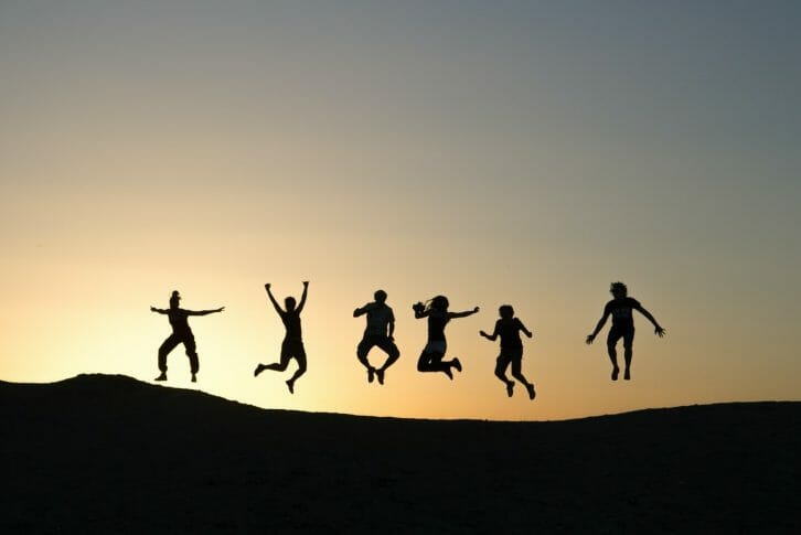11Friends jumping sunset Montenegro Adventure