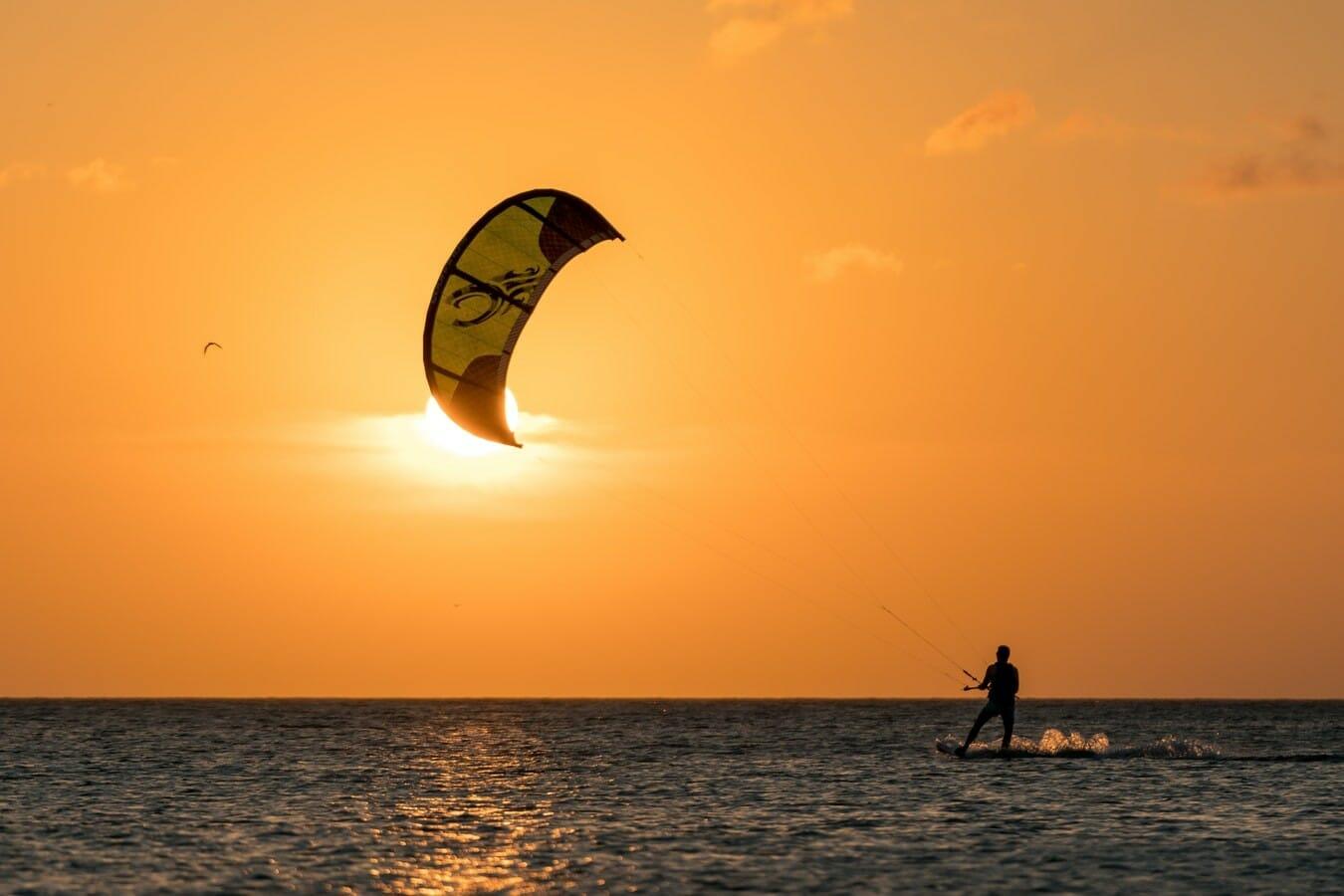 Kite surfing on Adriatic Sea Ulcinj Montenegro