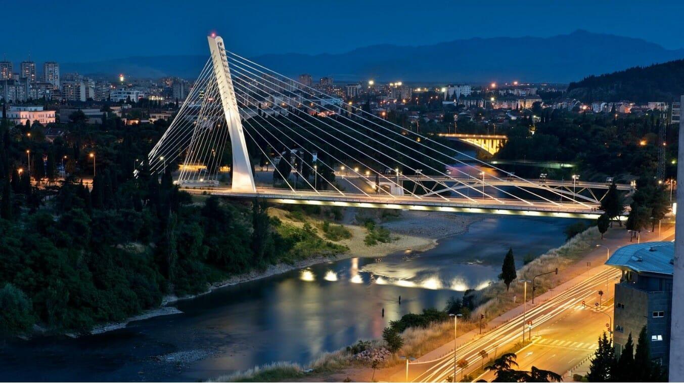 Millenium Bridge in Podgorica over Moraca River Podgorica Montenegro